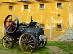 An old steam engine train; Ushuaia Prison/Maritime museum