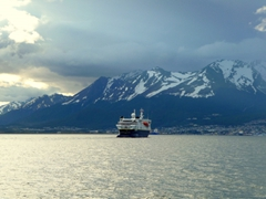 The Ushuaia pulls out of port; Beagle Channel