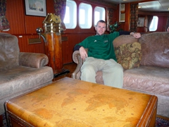 Robby chilling in the Polar Star library while still docked in Ushuaia
