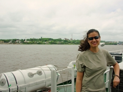 Becky on the Buquebus ferry; Colonia del Sacramento in the background