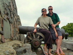 Posing atop one of Colonia's city wall canons