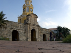 The Clock Tower (Torre del Reloj) is the main entrance into Old Cartagena