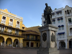 The statue of the city's founder, Pedro de Heredia, stands in the middle of Plaza de los Coches, which was once used as the main market area for slaves in Cartagena