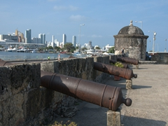 16th Century canons perched upon the city walls; Cartagena