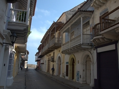 Gorgeous wooden balconies provide Cartagena's residents with a fine view of their lovely city