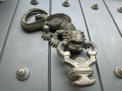 A detailed lizard door knocker