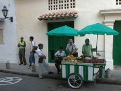 Locals purchasing fresh fruit for the day