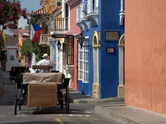 "Horse carriages are a popular ""lazy man's"" method of exploring old Cartagena"