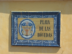 Street sign for Las Bovedas, one of Cartagena's most popular shopping destinations