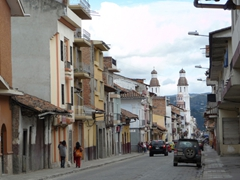 Calle Gran Colombia (with La Iglesia de Santo Domingo in the background)