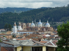 Picture perfect Cuenca (with twin spires from Santo Domingo Church and blue domes of the Cathedral of the Immaculate Conception)