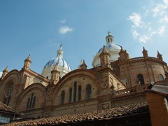 The new Cathedral was built in a Neo-Gothic style, and its blue and white domes have become a symbol for the city