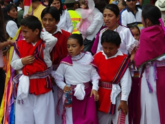 There are definitely more children in this parade than adults; Pase del Niño Viajero