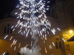 Night fireworks set off at Monastery of El Carmen de Asuncion