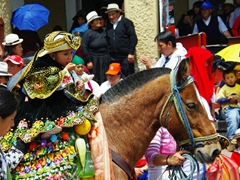 We saw hundreds of little girls riding horses down Cuenca's cobble stoned streets during the Pase del Niño Viajero Parade