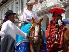 There were some adults riding horseback but the majority of the riders were young girls and boys; Pase del Niño Viajero