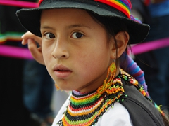 Close up of a girl's intricate bead work; Pase del Niño Viajero