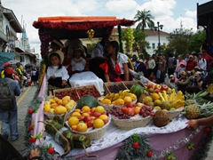 Fruits on display at the Pase del Niño Viajero; Calle Simon Bolivar
