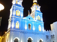 Santo Domingo church is really pretty when lit up at night