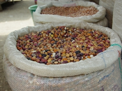 Lots of beans for sale; Gualaceo market