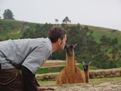 Robby kisses a lama in Ingapirca