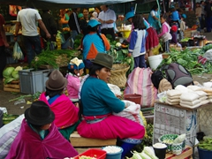Ingidenous women at the Feria Libre market