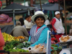 Vendor with a beautiful smile; Feria Libre market