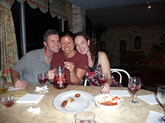 Robby and the Becky sisters share a sangria in pretty Cuenca