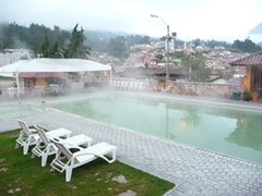 Early morning fog at Baños hot springs...we are the very first guests!