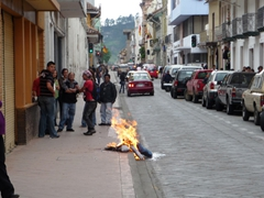 Burning effigies (años viejos) are a common sight right before and during New Years in Ecuador. These effigies are created to represent people and events from the past year
