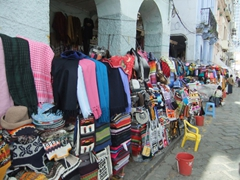Lots of wool handicrafts for sale at San Francisco Plaza