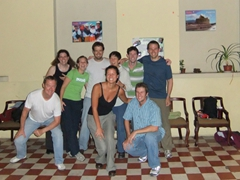 Group photo after salsa lessons at Simon Bolivar Escuela (Martin, Joey, Kylie y Marco, Becky, Leila, Chris, Robby, and Ben)