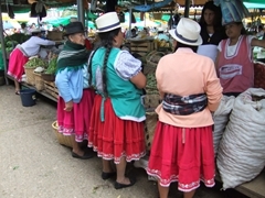 Indigenous women shopping at Gualaceo market