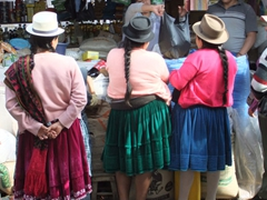 Colorfully clad indigenous women shopping at Gualaceo market