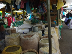 Dry goods for sale; Gualaceo market