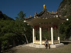 Robby chilling at a pagoda; Taroko Gorge