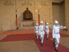 Honor guards of Taiwan's armed forces performing the final changing of the guard ceremony at Chiang Kai-shek Memorial Hall