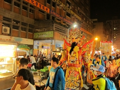 Religious parade at the Huaxi Night Market