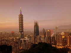 Sunset view of Taipei 101, the tallest building in the world from 2004 - 2009 (overtaken by the Burj Khalifa in Dubai)