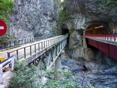 A view of an old and new bridge; Taroko Gorge