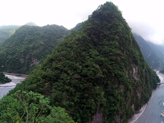 Panoramic view overlooking Taroko Gorge and Changuana Temple