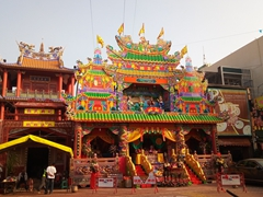 Colorful temple opposite the God of War Temple in Tainan