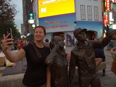 Becky at a selfie statue near the Red House in Taipei