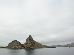 """The rugged peaks of Bartolome Island loom in the distance (we learned that several scenes from the movie """"Master and Commander"""" were filmed here)"""