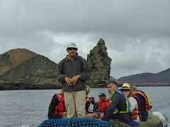 Alvaro, our naturalist guide on the Angelique, leads us on a tour around Bartolome Island