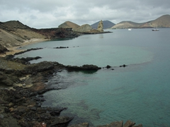 View of the bay on our hike to the lookout point; Bartolome Island