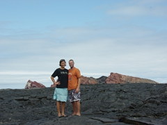 Striking a pose against a massive lava field; Sullivan Island