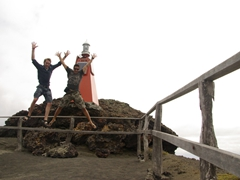 Ruben and Luke acting goofy at the Bartolome lookout point