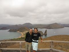 One of our favorite photos from the Galapagos, admiring the gorgeous view from the Bartolome lookout point