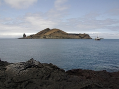 View of Bartolome as seen from volcanic Sullivan Island